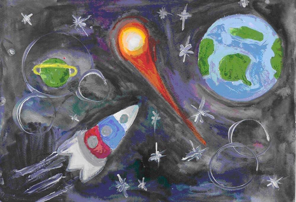 Космос нарисовать своими руками